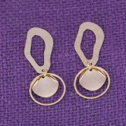 Silver Shine Gorgeous Golden Asymmetric Dangle Earring for Women