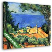 Paul Cézanne: L'Estaque piros háztetőkkel (30x25 cm, Vászonkép )