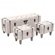 Sonata Комплект 3 бр пейки за съхранение дърво и стомана 112x37x45 см