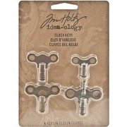 Metal Clock Keys by Tim Holtz Ideaology 4 per Pack Various Sizes Antique Finishes TH93014