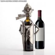 Porte-bouteille Skieur métallique