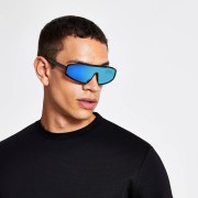 River Island Mens Black blue tinted lens visor sunglasses (One Size)