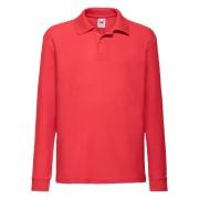 Koszulka dziecięca polo 65/35 z długim rękawem Fruit of the Loom Czerwony