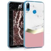kwmobile Funda para Huawei P20 Lite Carcasa de TPU para móvil y diseño de mármol clásico en Blanco/Dorado/Rosa Palo