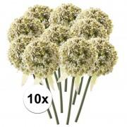 Bellatio flowers & plants 10 x Witte sierui 70 cm kunstplant steelbloem