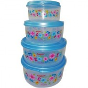 Plastic Food Storage Containers Set of 4PCS (2500 ml 1800 ml 1000 ml 500 ml) Blue