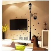Jaamso Royals ' Modern minimalist style black lights butterfly' Wall Sticker (PVC Vinyl 90 cm X 60 cm Decorative Stickers)
