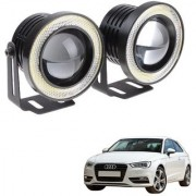 Auto Addict 3.5 High Power Led Projector Fog Light Cob with White Angel Eye Ring 15W Set of 2 For Audi A3