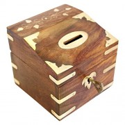 Iblay Money Saving Box Banks - Money Safe for Kids Box Wooden Piggy Bank Gifts For Boys Girls And Adults