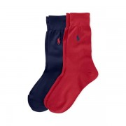 Polo Ralph Lauren Stretch Cotton Sock 2-Pack - Red / Navy - Size: UK 9-12
