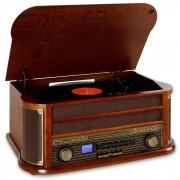 Auna Belle Epoque1908 Minicadena con tocadiscos USB CD MP3 Bluetooth