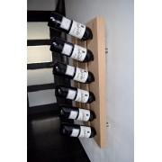 Wijnrek, wijnhouder kops aan muur, Frans eikenhout voor 6 flessen