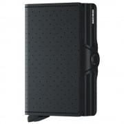 Secrid Porta Carte Doppio Scomparto con Clip linea Perforated in Pelle Black con RFID