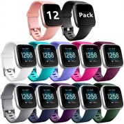 Ouwegaga Compatible for Fitbit Versa Bands Versa Lite Bands Women Men Straps Small 12 Packs