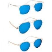 TheWhoop Stylish Combo UV Protected Mercury Blue Sunglasses For Men Women Girls Boys