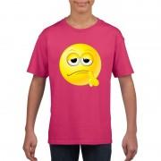 Bellatio Decorations Smiley t-shirt bedenkelijk roze kinderen