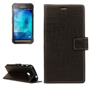 Samsung Galaxy Xcover 4 Case, G390F Case, Crocodile Texture Horizontal Flip Leather Case with Holder & Card Slots & Wallet (Black)