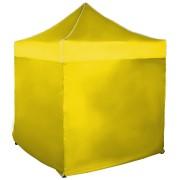 Rýchlorozkladací nožnicový stan 2x2m – oceľový, Žltá, 4 bočné plachty