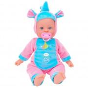 Papusa fetita cu sunete 42 cm Globo Bimbo, cu costum unicorn Roz si suzeta