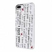 Husa Silicon Transparent Slim Love You Apple iPhone 7 Plus 8 Plus