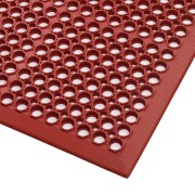 Červená gumová průmyslová protiúnavová protiskluzová rohož Sanitness - délka 594 cm, šířka 91 cm a výška 1,27 cm