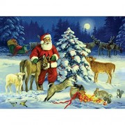 Bits And Pieces - 1000 Piece Jigsaw Puzzle For Adults Santa'S Barnyard Christmas Pc Winter Holiday Snow By Artist Linda Picken