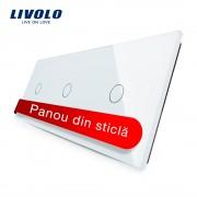Panou intrerupator simplu+simplu+simplu cu touch Livolo din sticla, alb