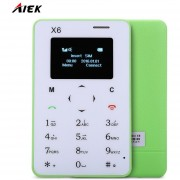 Card Phone AIEK X6 Quad Band Bluetooth 3.0 Celular Verde-EU Plug