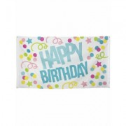 Striscione in tessuto Happy Birthday coriandoli pastello 90x150