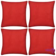 vidaXL Crvene Jastučnice 4 kom Pamuk 40 x 40 cm