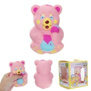 Xinda Squishy Strawberry Bear Holding Honey Pot Pink Slow Rising With Packaging Collection Gift Toy