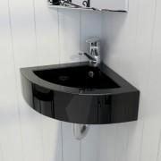 vidaXL Négyszögletes kerámia fürdőszoba mosdókagyló csaptelep és túlfolyó fekete