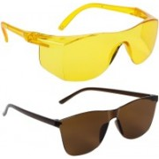 TheWhoop Rectangular, Wrap-around Sunglasses(Brown, Yellow)