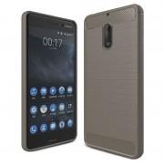 Nokia 6 Brushed TPU Case - Carbon Fiber - Grey