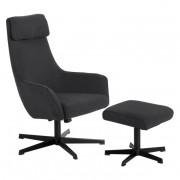 Кресло с табуретка, ERICA, асфалтово сив (3550904)