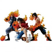 SOJITRA 8-12 Cm Flame Three Brothers Luffy Ace Sabo Action Figure Toy(3Pcs/Set)(Multicolor)