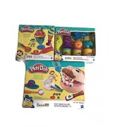 Play-Doh 3 Pack Playset Toys Includes, Doctor Drill 'n Fill Retro Pack, Ice Cream Treats, Undersea Ocean Tools