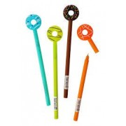 Quirky Stationery Set of 5 Donut Head Style Plastic 0.38mm Black Ink Gel Pen for Kids/ Teenagers Return Gift Option