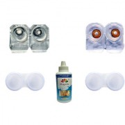Magjons 2 Pair Black Brown 0 Power Party Contact Lean Monthly Use With 80ml Solution Lens Case