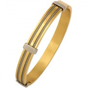 Rope Border 18K Gold Silver 316L Surgical Stainless Steel Gold Silver Openable Kada Bangle Bracelet for Men