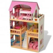 vidaXL 80175 3-Storey Dollhouse Wood 60x30x90 cm
