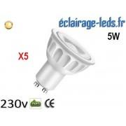 Lot de 5 ampoules led GU10 5W Blanc Chaud 3000K Équiv 45W 40° ref gu10-09