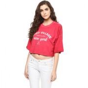 Grain Women's Red Slogan Printed Crop Sweatshirt