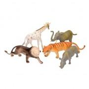 Merkloos 5 delige speelset groteplastic savannah dieren