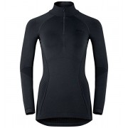 Odlo Evolution warm Shirt l/s Turtle neck 1/2 Zip - maglia funzionale manica lunga - donna - Black/Odlo Graphite Grey