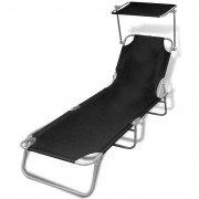 Outdoor Foldable Sunbed with Canopy Black 189 x 58 x 27 cm