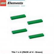Lego Parts: Tile 1 x 4 (PACK of 4 - Green)