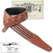Walker & Williams G-552 Saddle Brown Tooled Leather Strap with Barbed Wire Lacing