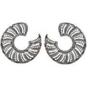 Lucky Jewellery Trendy Oxidised Plating Afghani Earring For Girls Women