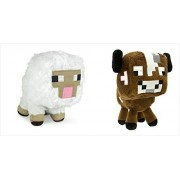 "Official Minecraft Overworld 7"" Plush SET of 2: Baby Cow and Baby Sheep"